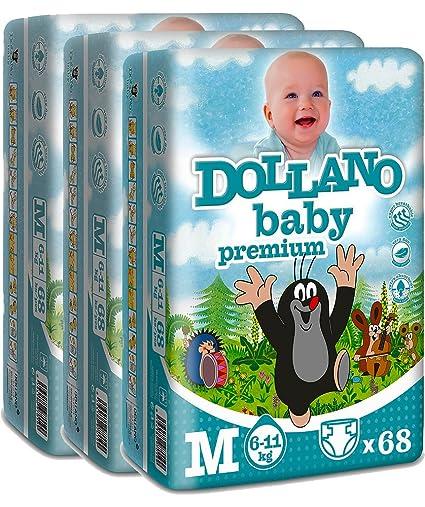 Dollano Baby Nappies PREMIUM, Pañales para bebés PREMIUM, sin látex, sin cloro,