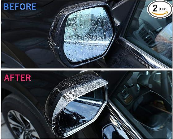 Chrome Rain Protection Cover LFOTPP Car Rear View Mirror Rain Eyebrow Visor Shade for T-Cross TCross