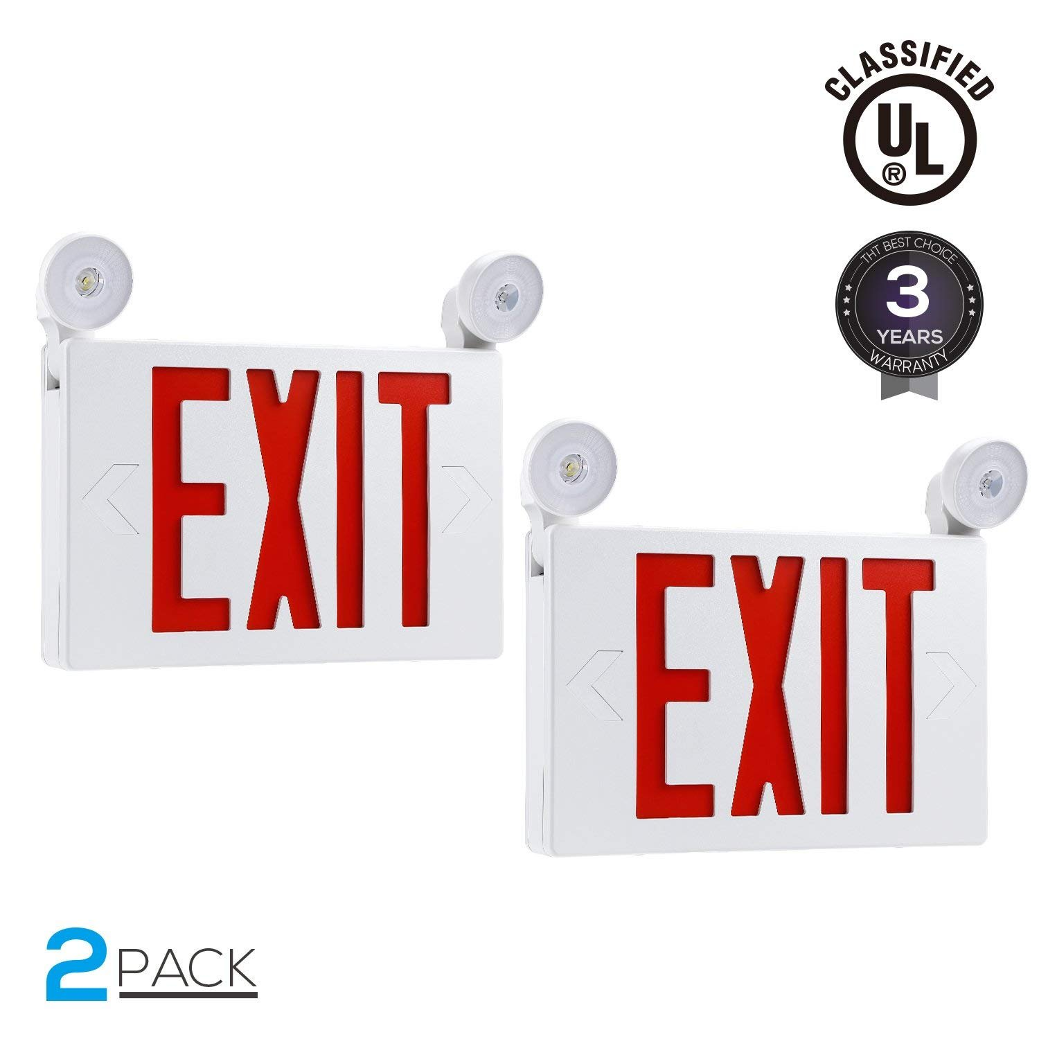 Red LED Exit Sign with UL Listed Emergency Light, AC 120V/277V, Battery Included, Ceiling/Side/Back Mount Sign Light, for Hotels, Restaurants, Shopping Malls, Hospitals, Pack of 2