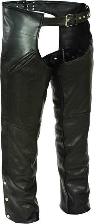 Milwaukee Mens Vented Leather Chaps Black, XXX-Small