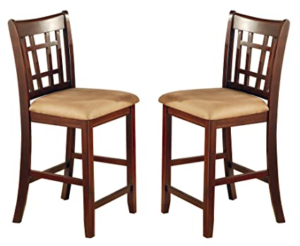Amazoncom Lavon 24 Counter Stools Tan And Brown Set Of 2