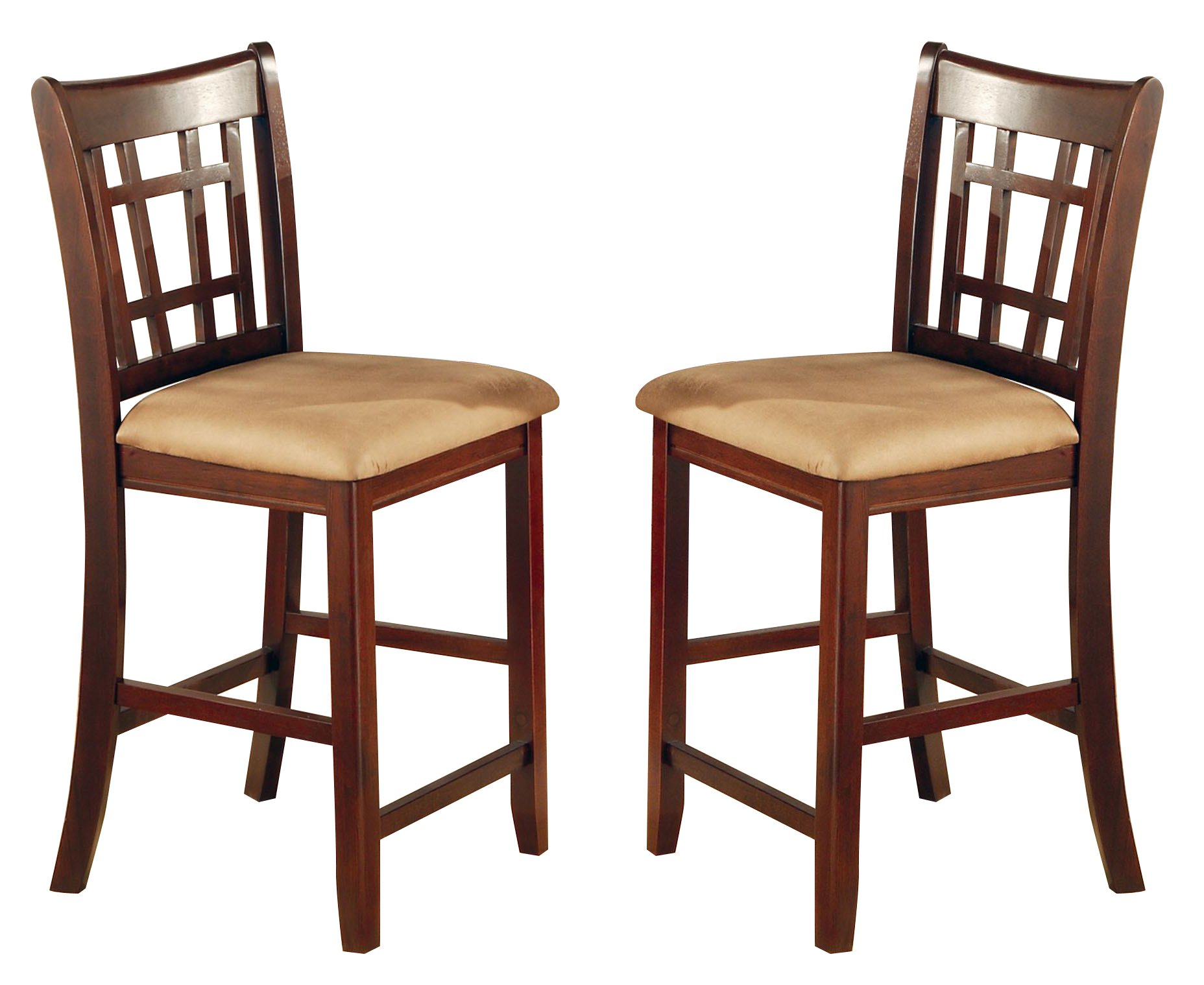 Coaster Home Furnishings  Lavon Modern Window Back Counter Height Bar Stool ( Set of 2 ) - Warm Brown  / Warm Tan Fabric by Coaster Home Furnishings
