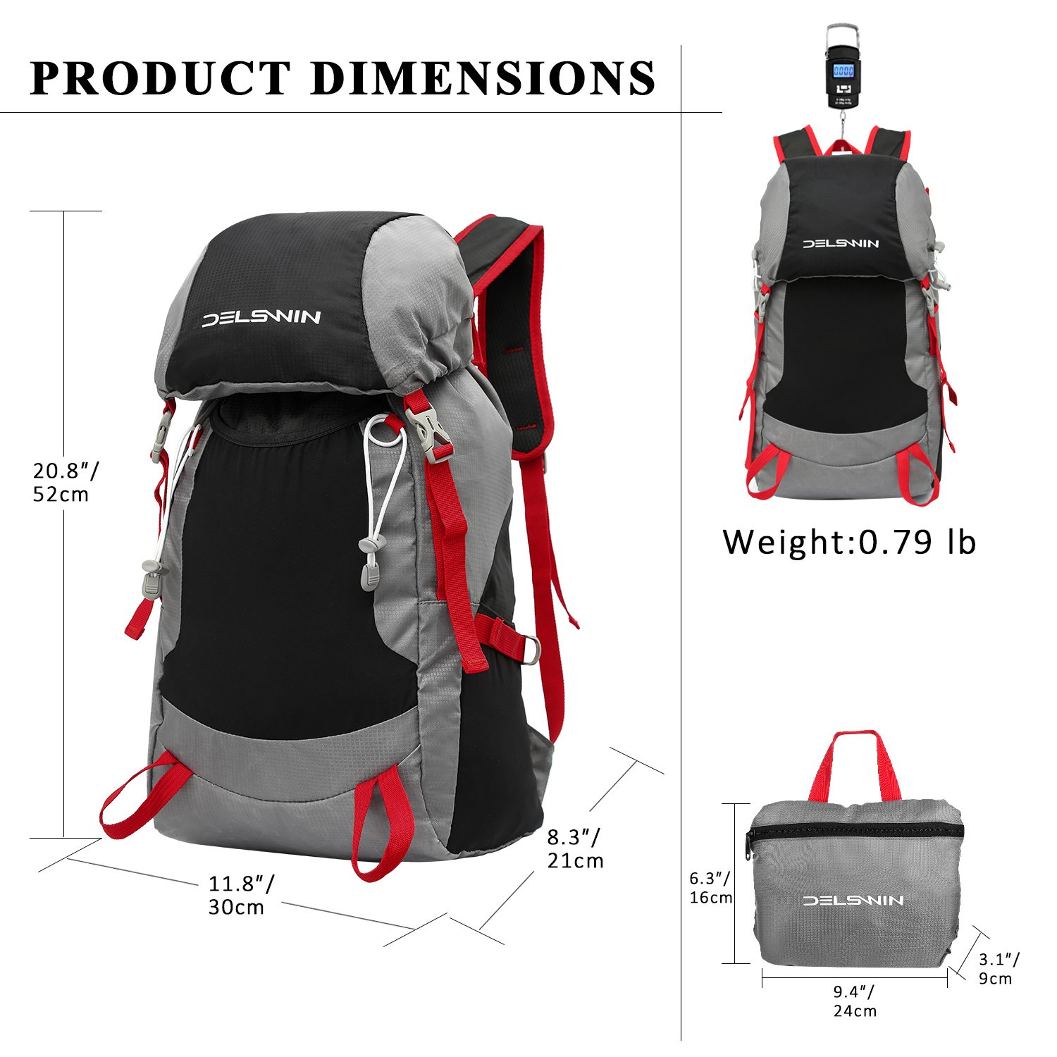 DELSWIN Waterproof Hiking Trekking Backpack 35L Lightweight Outdoor Folding Travel Daypack for Women Men