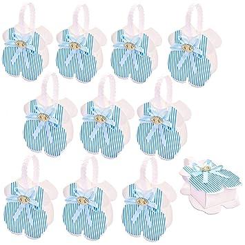 JZK 24 x Azul Mamelucos recién Nacido Caja de Favor cajitas Regalos para Regalo de Fiesta Bautizo comunion cumpleaños niños bebé