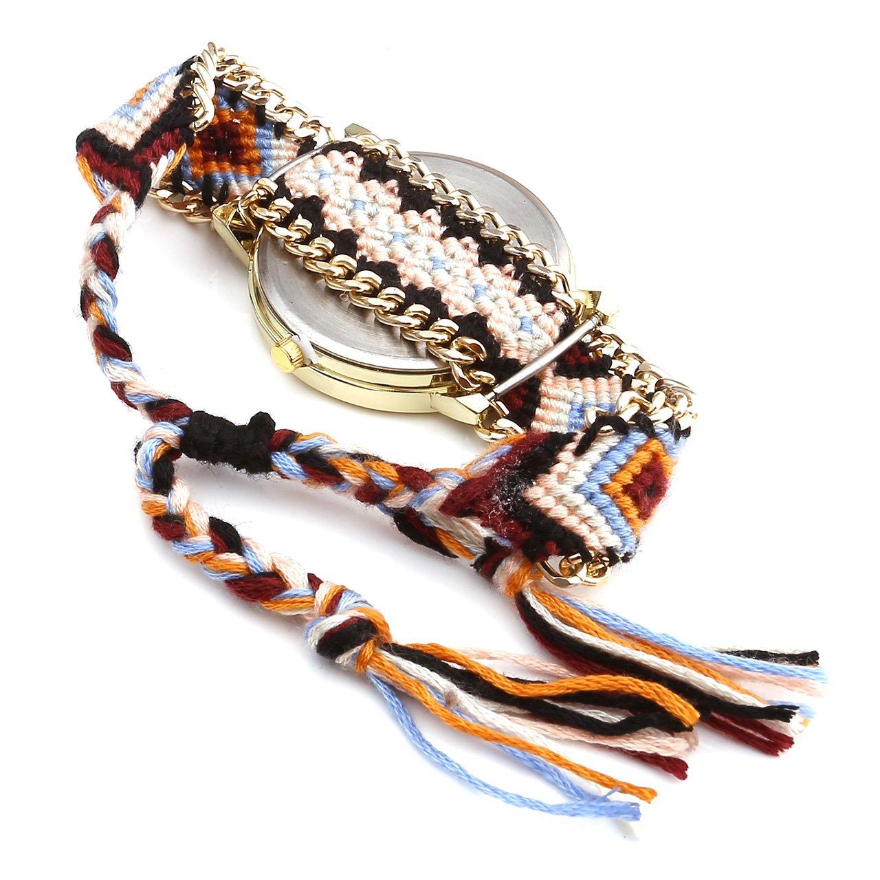 JSDDE Dreamcatcher Bracelet D\'Amitié Montres Femmes Tressent Montres Habillées, Orange