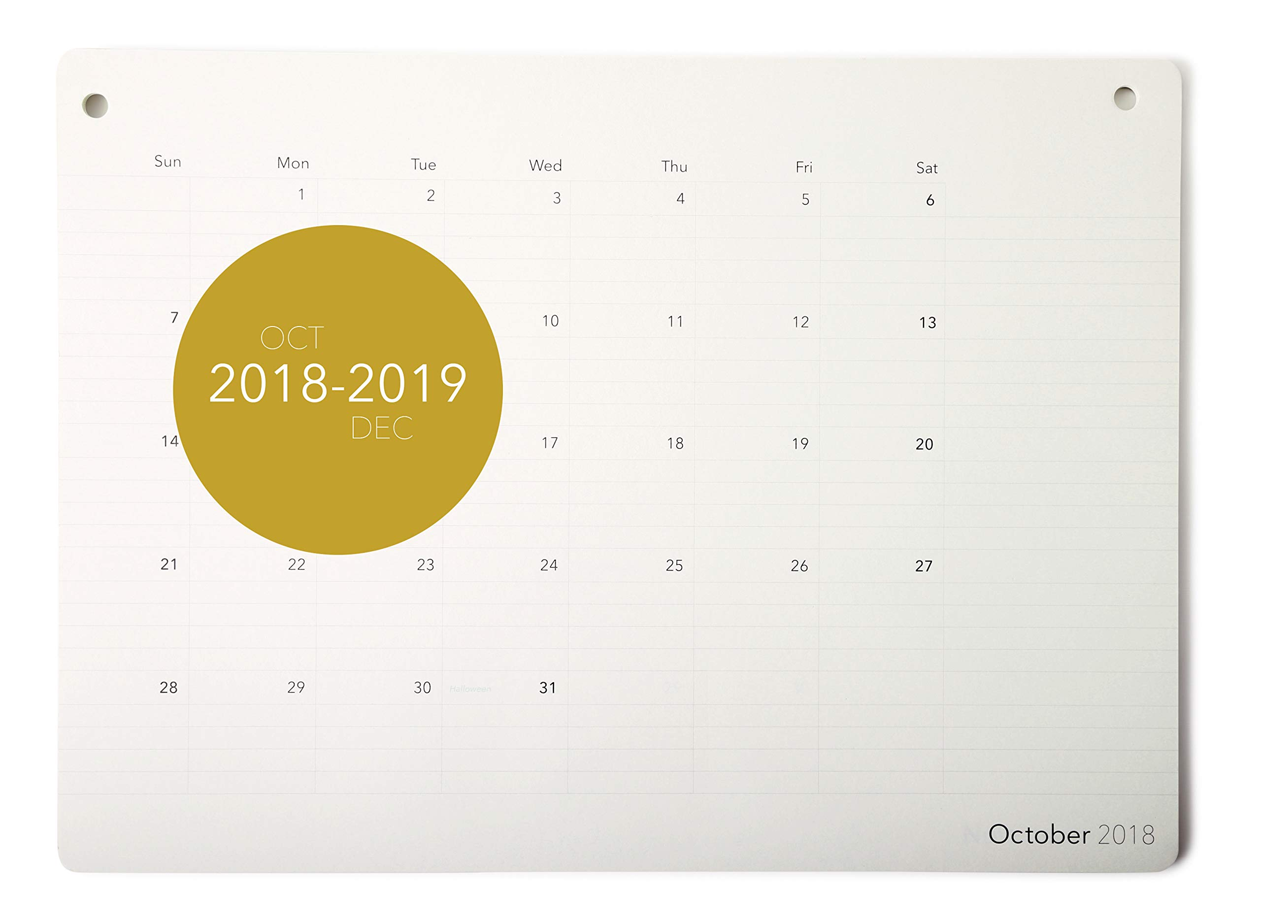 Elegant Desk Calendar 2018-2019 · Monthly Desk Pad Planner · October 2018 - December 2019 · 17.8'' x 13'' · Wall Calendar · Academic (Ruled)