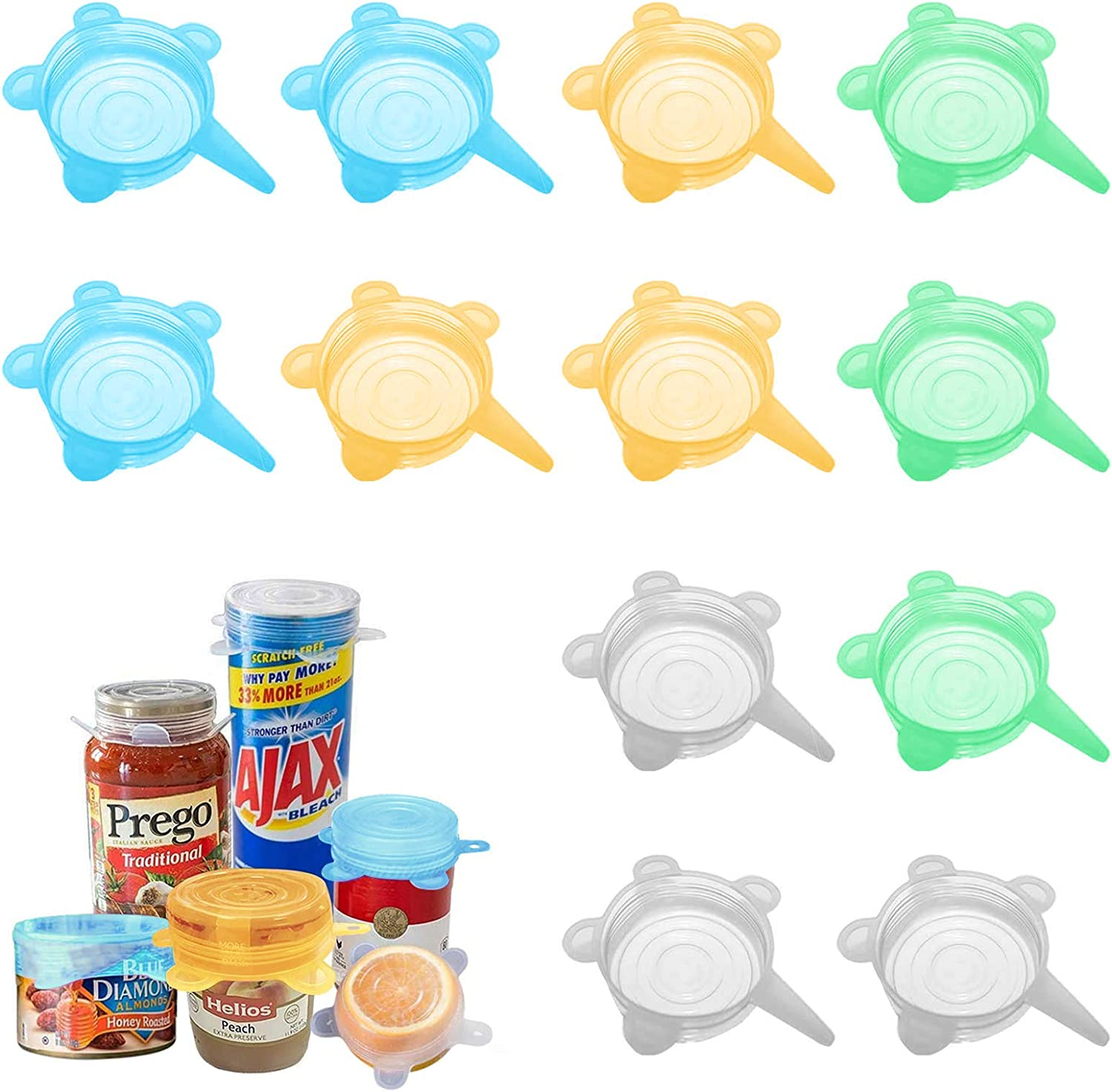 Silicone Stretch Lids6Pack 2.6'' Small, Reusable, Durable and Expandable Food Covers, Keeping Food Fresh,for Cups,Small Bowls Cans Jars Fruits Vegetables.