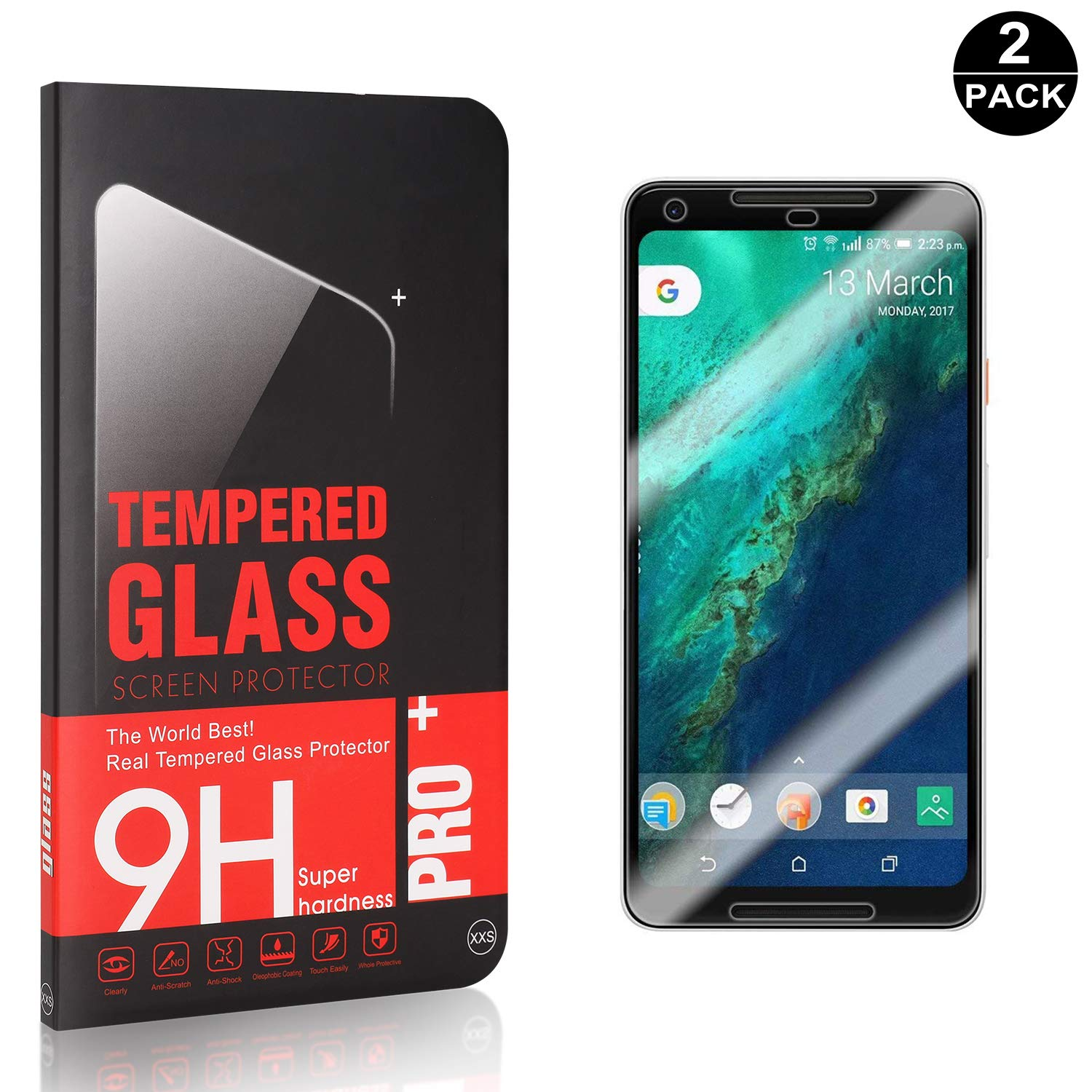 Anti Scratch Bubble Free 9H Hardness HD Tempered Glass Screen Protector Film for Google Pixel 2 Bear Village Screen Protector for Google Pixel 2 3 Pack