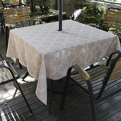 Amazon Com Iisutas Outdoor Patio Tablecloth With Umbrella Hole And