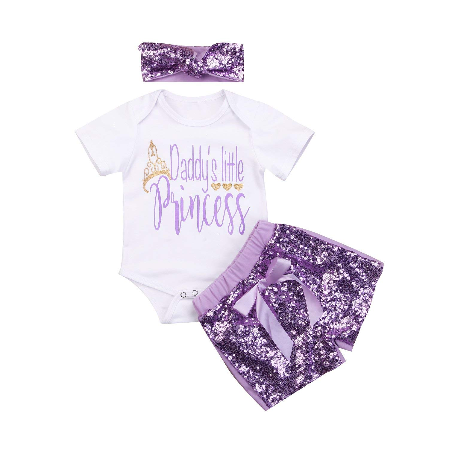 douleway Summer Baby Girl Daddys Little Princess Romper Sequins Shorts Set 3 Piece Outfit Clothes