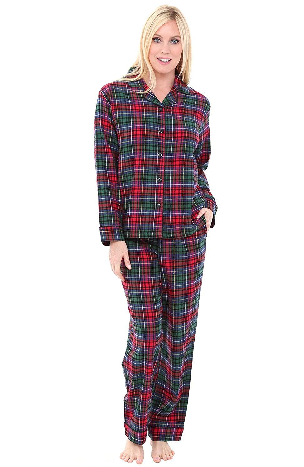6197b9be3decc Alexander Del Rossa Women's Warm Flannel Pajama Set, Long Plaid Button Down  Cotton Pjs at Amazon Women's Clothing store: