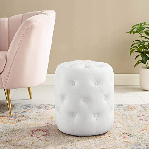Modway Amour Tufted Vegan Leather Round Upholstered Ottoman