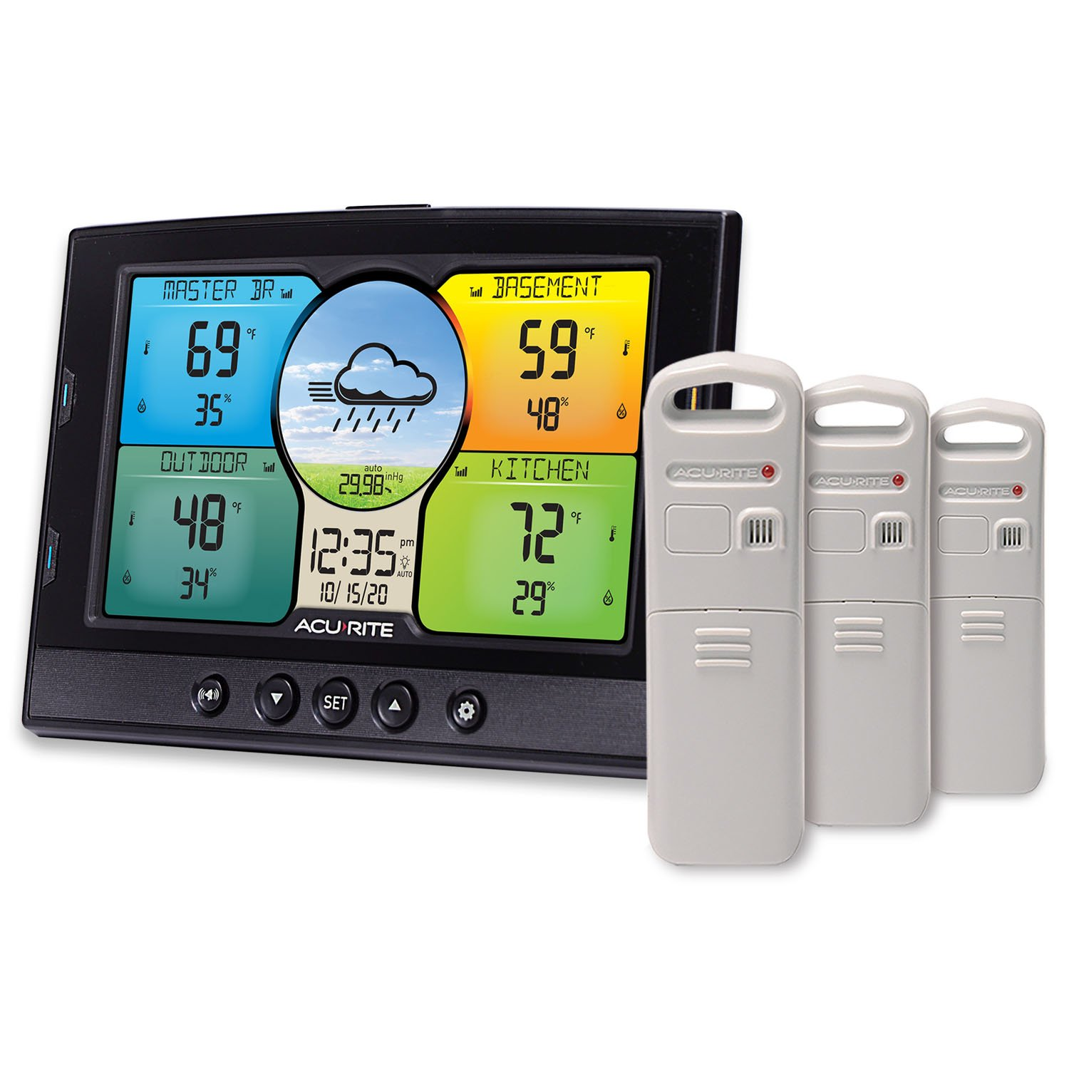 AcuRite 02082M Home Temperature & Humidity Station with 3 Indoor/Outdoor Sensors