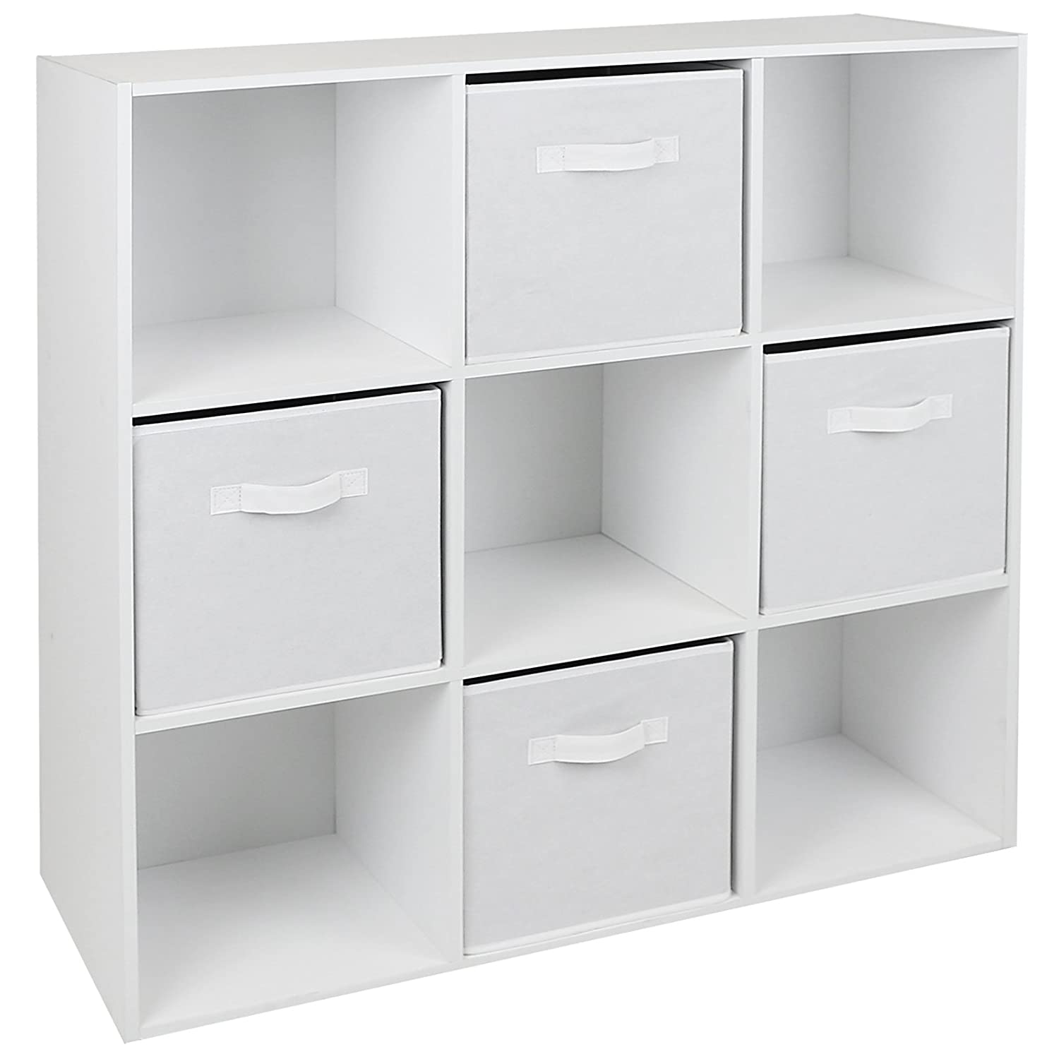 Hartleys White 9 Cube Unit & 4 White Storage Drawers Amazon
