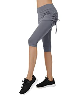 669cfff368795 Cityoung Women's Running Cropped Capri Pants Swim Skirted Sport Leggings  Sun Protection