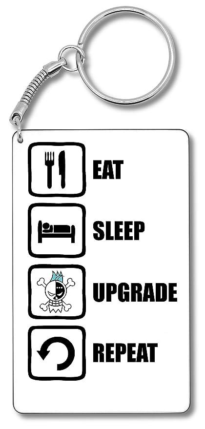 One Piece Franky Inspired Eat Sleep Upgrade Repeat Llavero ...