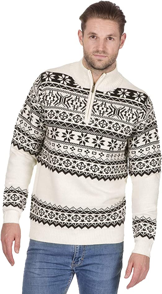 Metzuyan Mens Jacquard Knit Sweater Zip Neck Nordic Winter