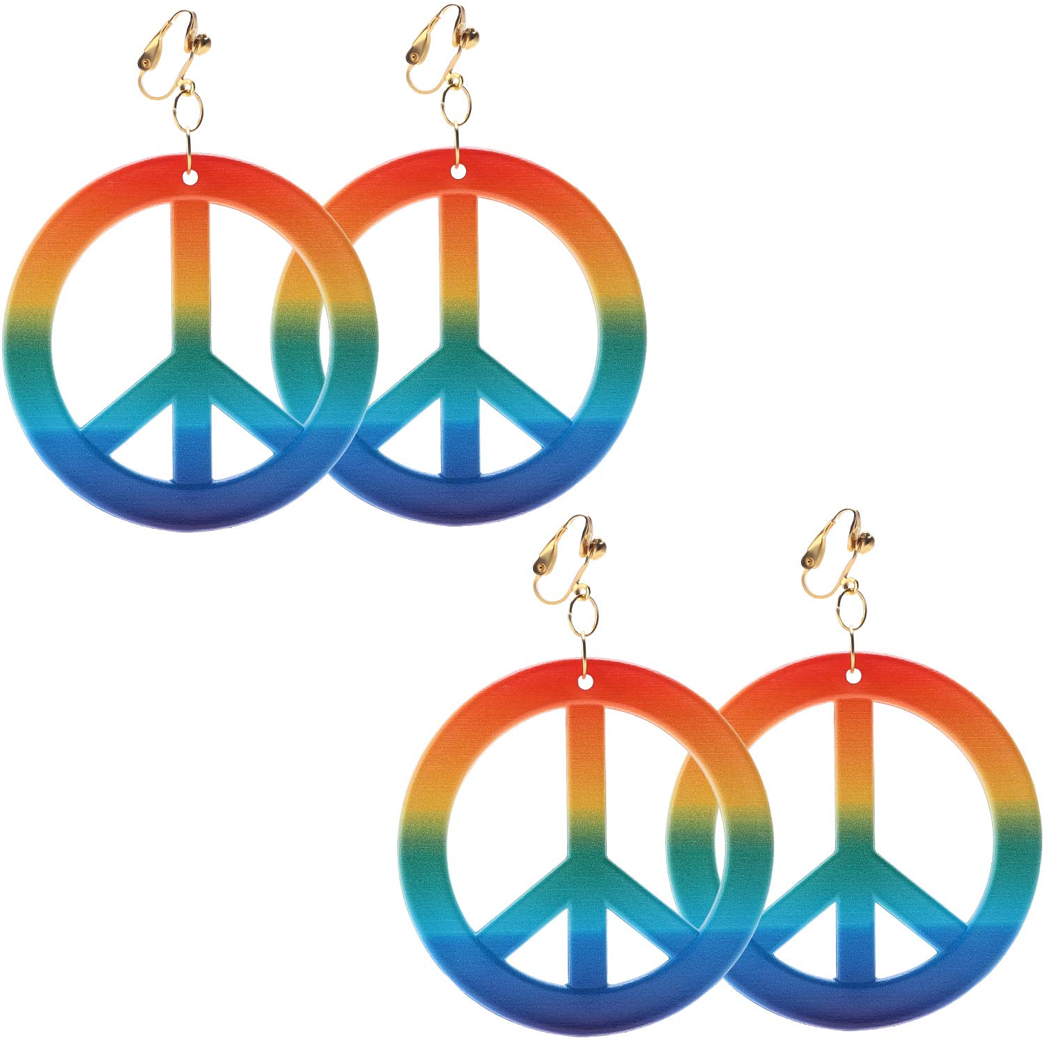 Rainbow Color Sunshane 2 Pairs Hippie Style Peace Sign Earrings Hippie Dressing Accessories