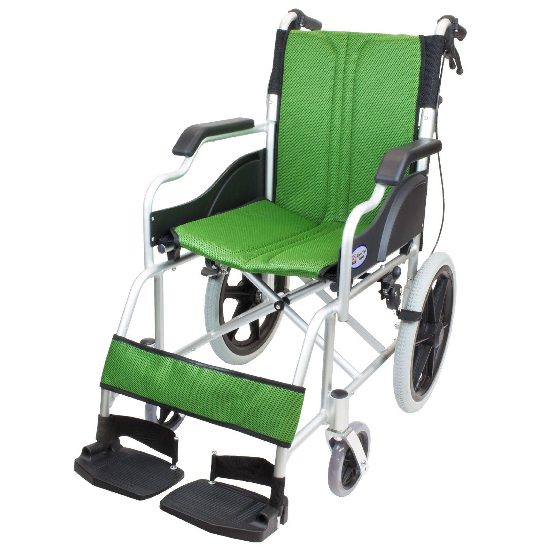 ケアテックジャパン 介助式車椅子 ハピネスコンパクト -介助式- CA-13SU (グリーン(緑色)) B077VG5WFF グリーン(緑色) グリーン(緑色)