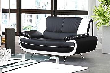 Mobilier Deco Canapé 2 Places Design Noir et Blanc Simili Cuir MUZA