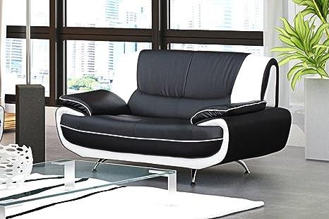 Divano 2 Posti Di Design Modello Muza Colore Bianco E Nero