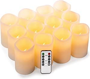 """Enpornk Set of 12 (D:3"""" x H:4"""") Flameless Candles Battery Operated LED Pillar Real Wax Flickering Electric Candles with Remote Control Cycling 24 Hours Timer"""