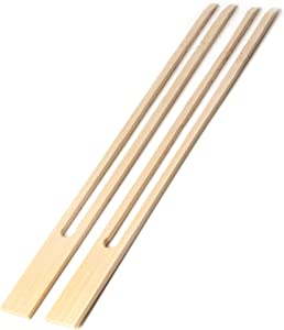 "BambooMN 18mm Wide Bamboo Double Prong Fondue Sticks Barbecue Grilling Kabob Skewers, 9.5"" Long, 100 Pieces"