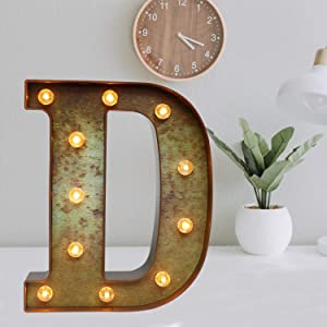Glzifom Light Up LED Vintage Industrial Letters with Lights – Lighted Iron Rust Marquee Bar Sign Lamp – Night Light for Christmas Pub, Bistro, Party, Wall Decor - D