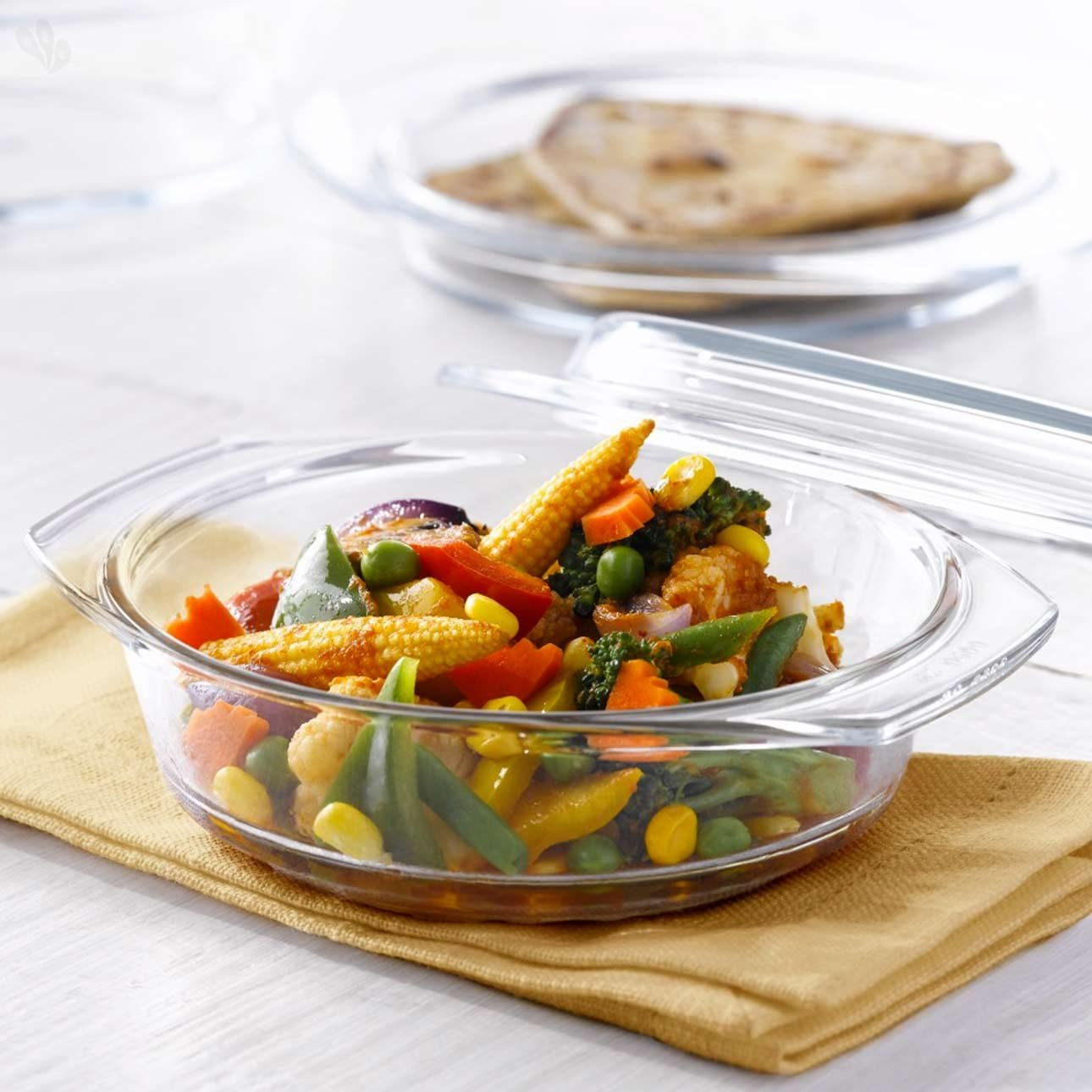 Borosil Glass Casserole - Oven and Microwave Safe Serving Bowl with Glass Lid, 700ml