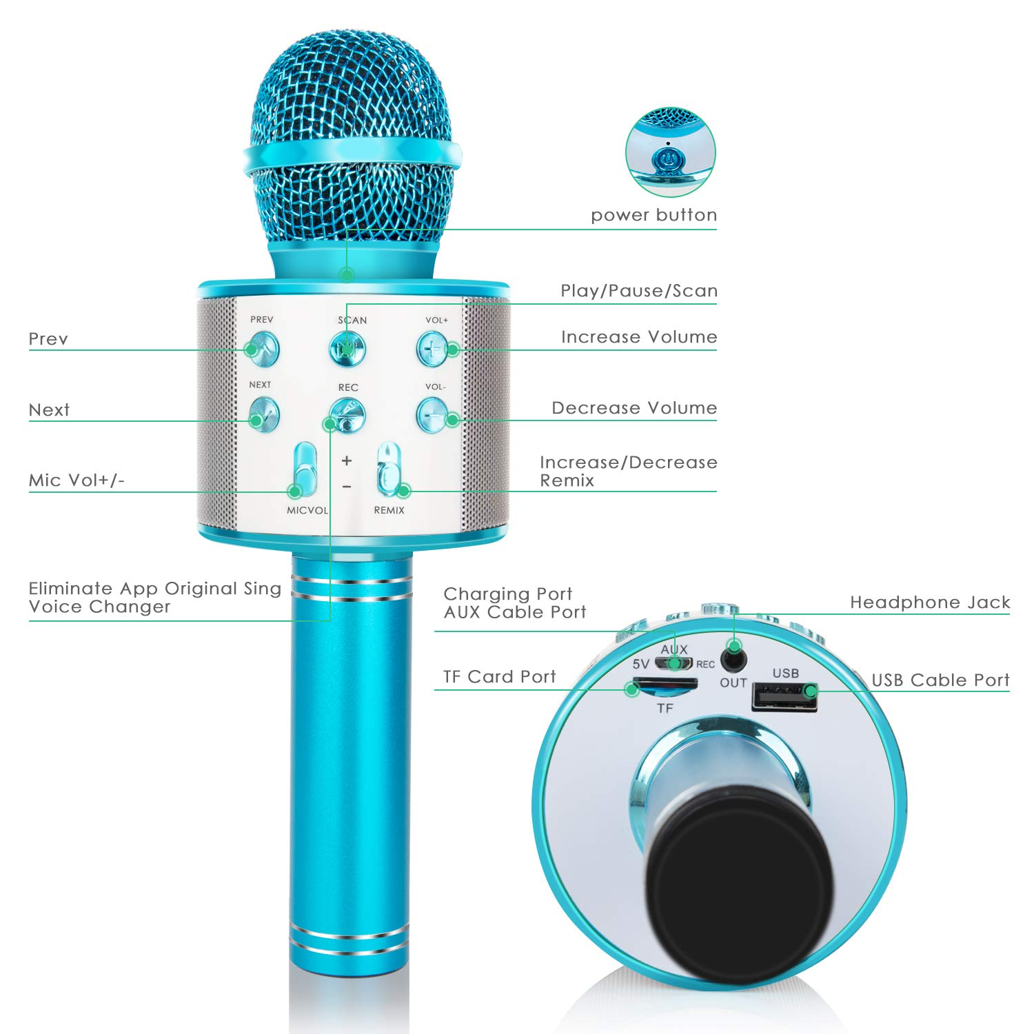 Wireless Bluetooth Karaoke Microphone 5-in-1 Portable Handheld Karaoke Mic Speaker Player Recorder with Adjustable Remix FM Radio for Kids Adults Birthday Party KTV Christmas Blue