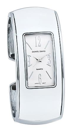 Daniel David HA0481, Montre Femme , Quartz Analogique , Cadran Blanc Rectangulaire , Bracelet Rigide