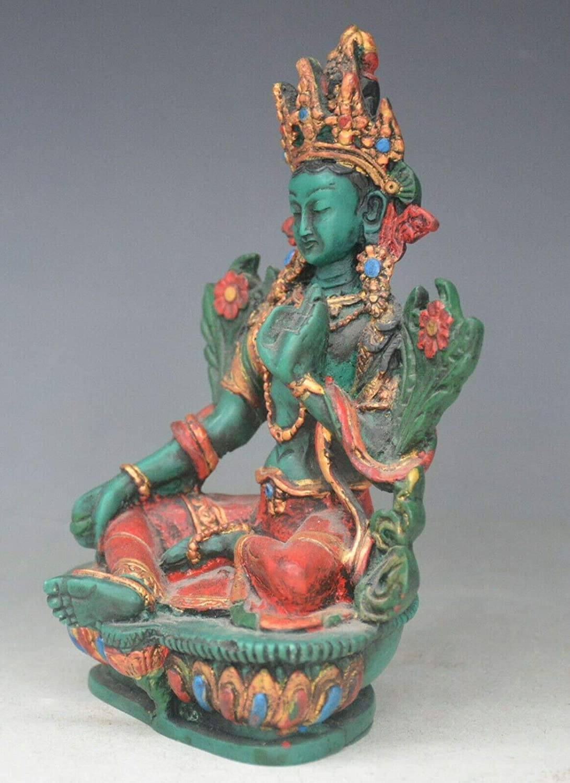 LBYLYH dise/ño de Tara estatua de Buda segura y buena suerte Figura decorativa para el hogar color verde diosa de Guanyin