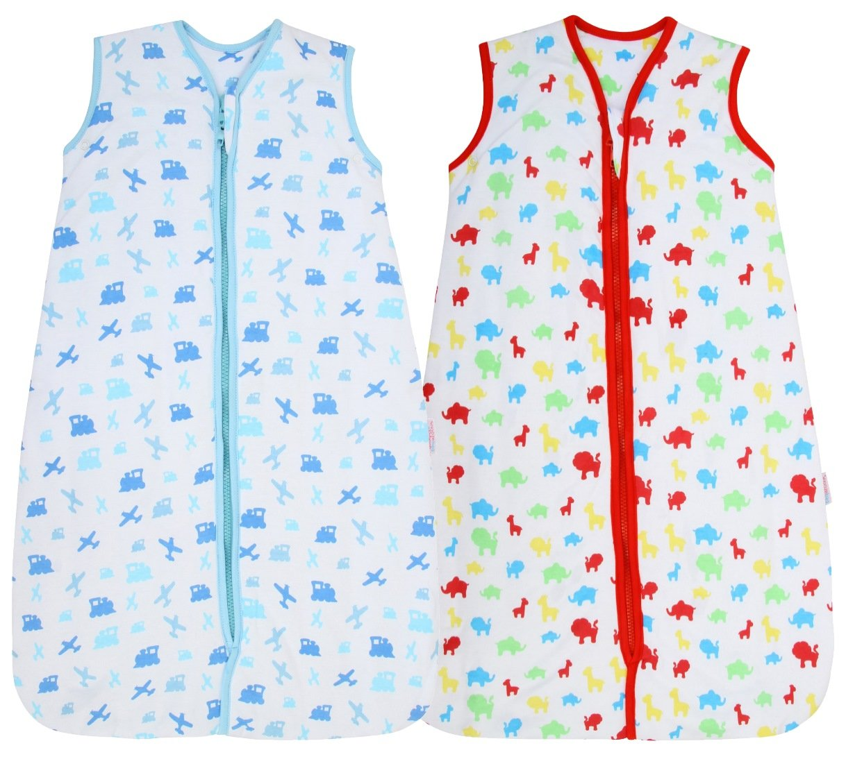 Snoozebag Twin Pack Planes & Trains + Jungle Fun 100% Cotton 2.5 Tog Boys Nursery Baby Sleeping Bag Multi-Coloured 18-36 Months (110cm) 2 pack Babycurls SB-TW-JN-BF