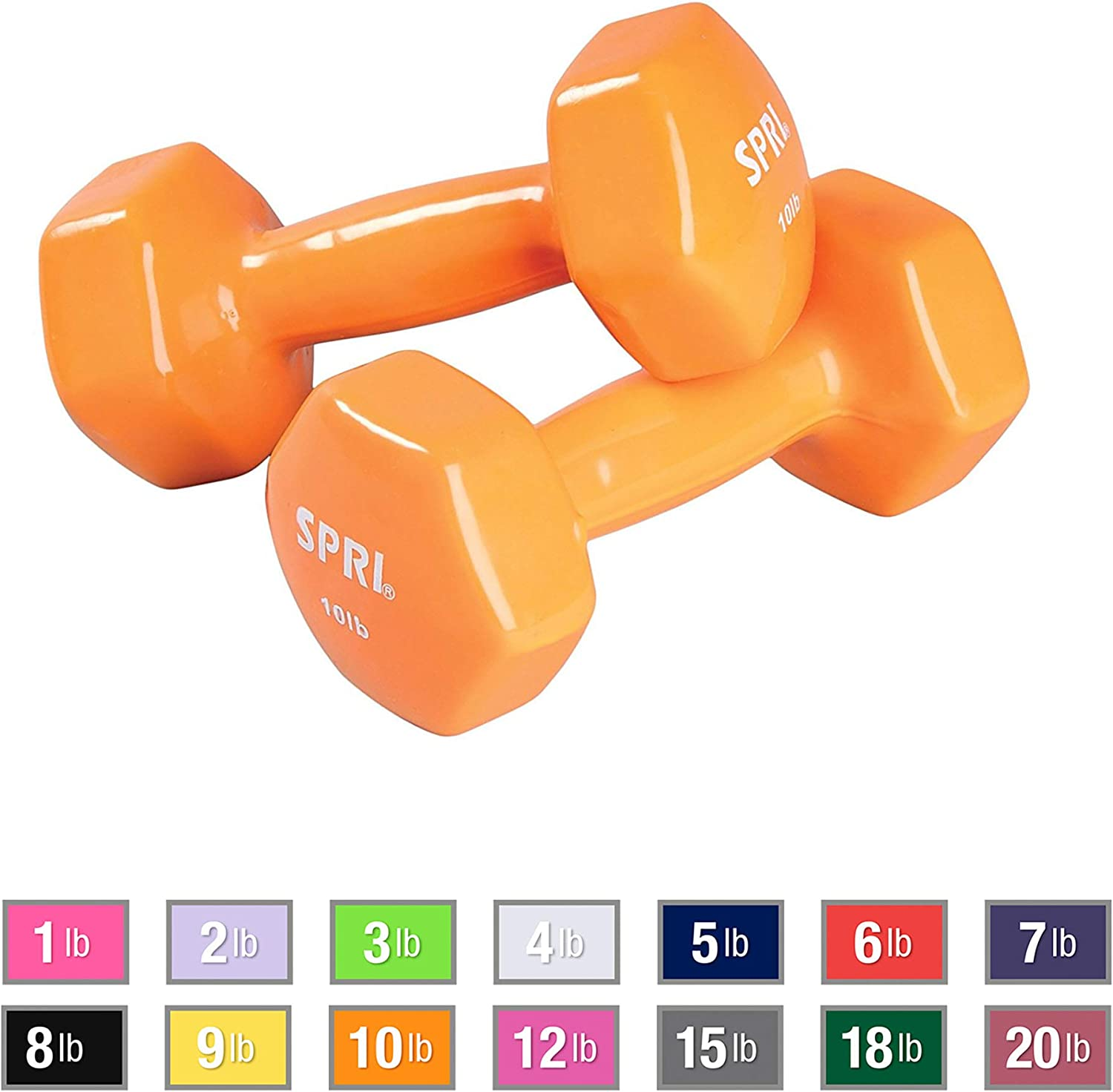 SPRI Dumbbells Deluxe Vinyl Coated Hand Weights All-Purpose Color Coded Dumbbell for Strength Training