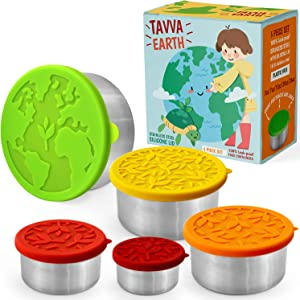 TAVVA Stainless Steel Food Storage Containers [Set of 5] - Plastic Free | Silicone Lids | Leakproof Toddler Lunch Box – Also Suitable as Kids Lunch Box and to Go Containers
