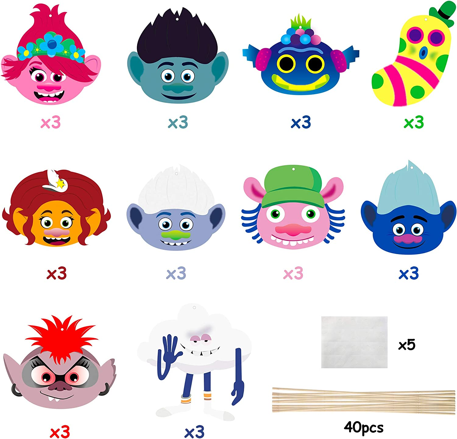 ANGOLIO 30Pack Trolls Paper Card Centerpiece Kit Table Toppers Paper World Tour Themed Birthday Party Favor Decorations Baby Shower Desk Topper Party Supplies for Kids Adults