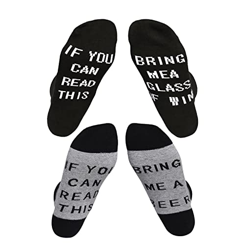 """Tagvo Letter Embroidered Socks, 2 Pairs Winter Warm Cotton Socks Sports Running Socks with Creative Letter""""IF YOU CAN READ THIS"""" for Women Men Adults"""