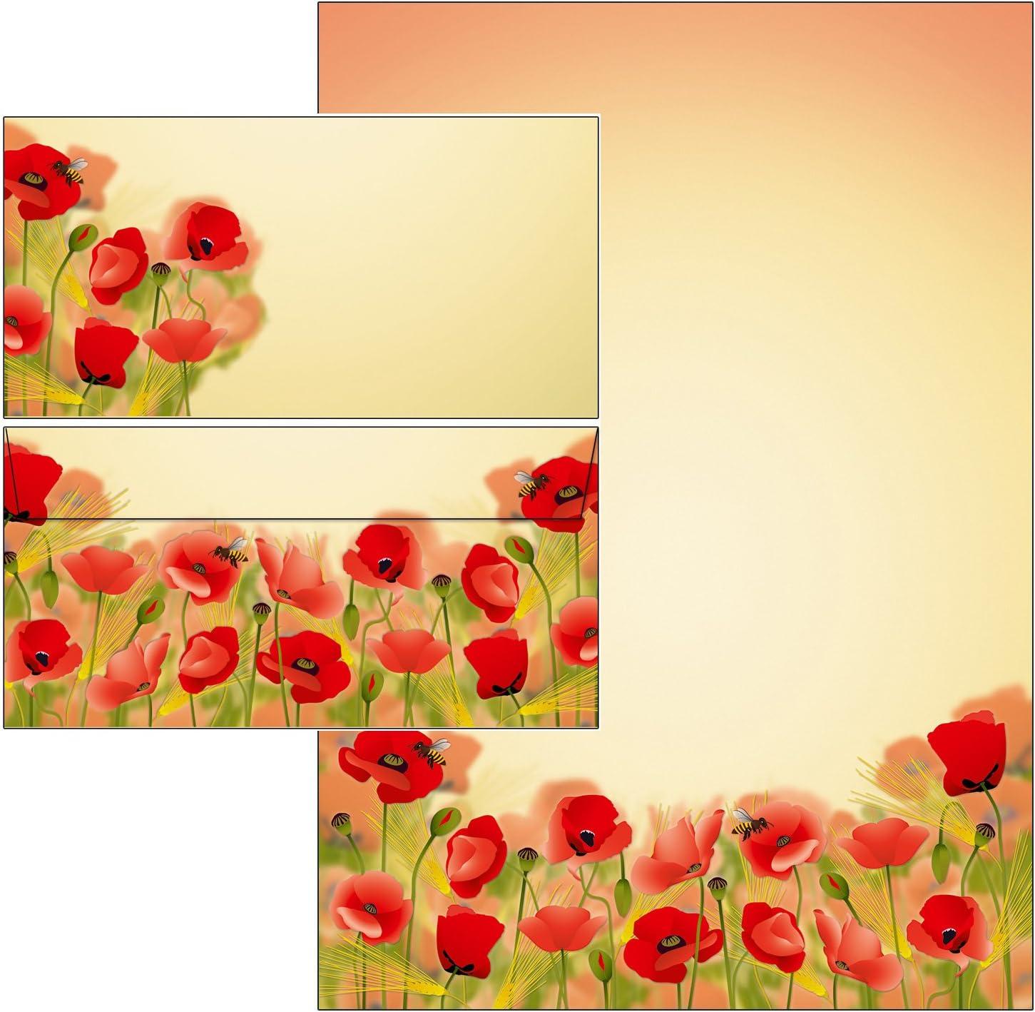 50 Blatt Briefpapier + 50 Kuverts ohne Mappe Briefpapier Briefumschl/äge DIN lang ohne Fenster Mohnblumen Set