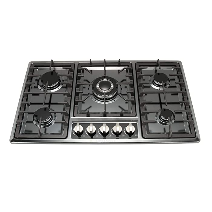 "[US Seller,Ship from NJ,US] METAWELL 34"" Black Titanium Stainless Steel Built-in 5 Ring Burners Stoves Gas Hob Cooktop Cooker"