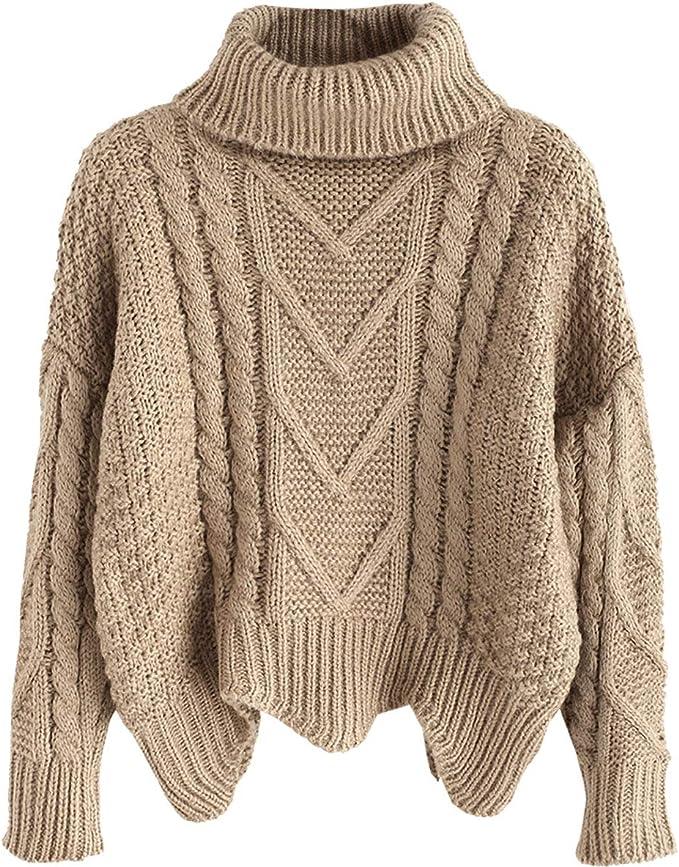 Damen Rollkragen Strickpullover Pullover Pulli Sweatshirt Winter Warm Oberteil