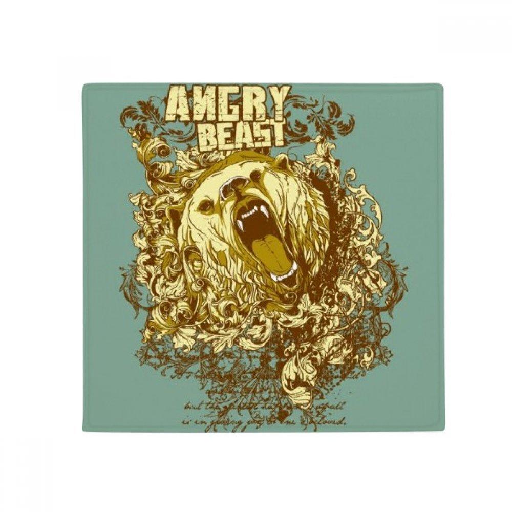 DIYthinker Graffiti Street Yellow Bear Angry Pattern Anti-Slip Floor Pet Mat Square Home Kitchen Door 80Cm Gift