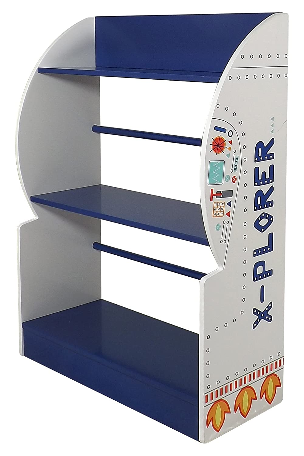 Kidsaw Explorer Bookcase, Wood, Blue, 24 x 60 x 80 cm Kidsaw Ltd EXBK