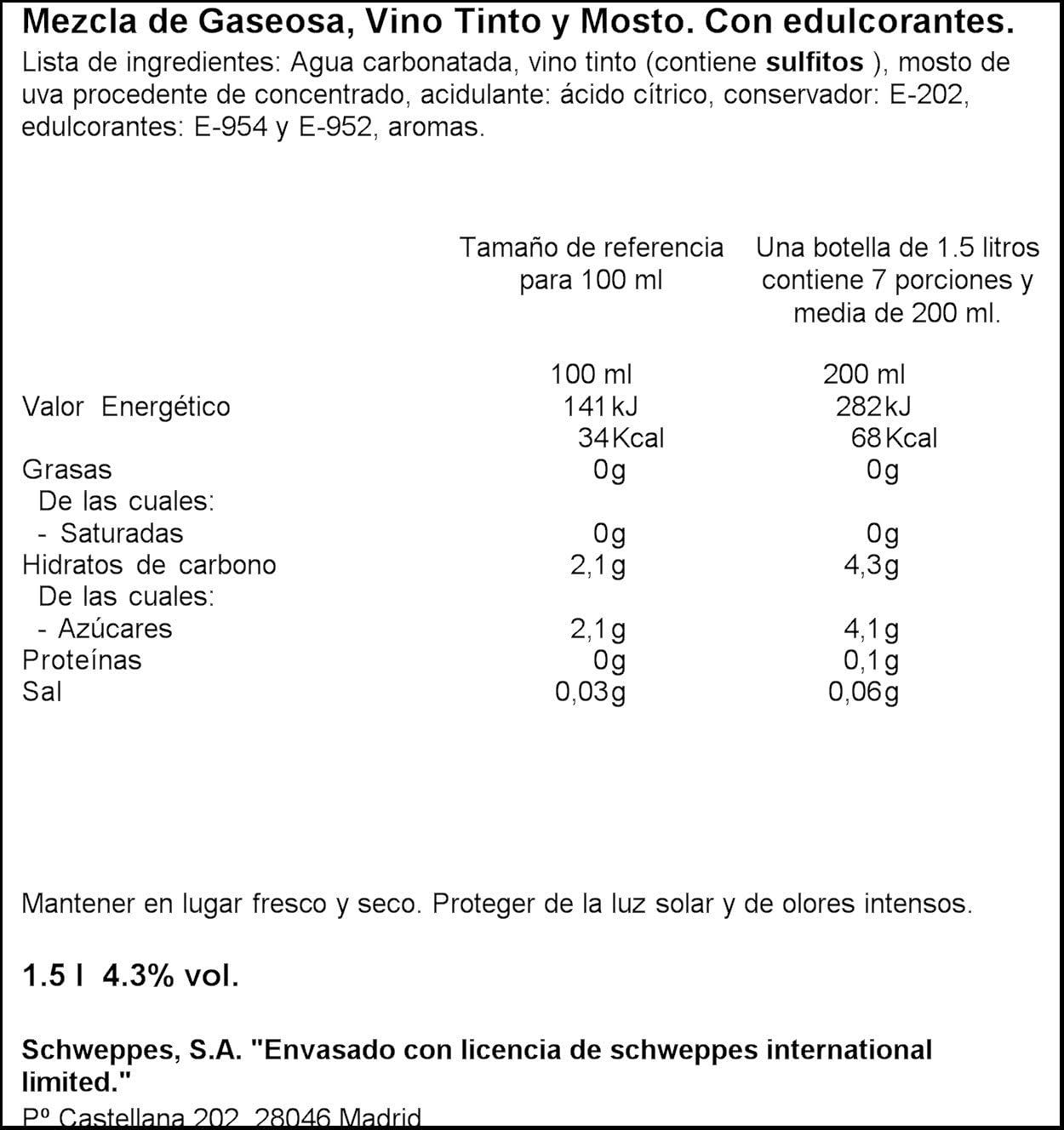 La Casera Tinto de Verano Gaseosa - 1,5 l: Amazon.es ...