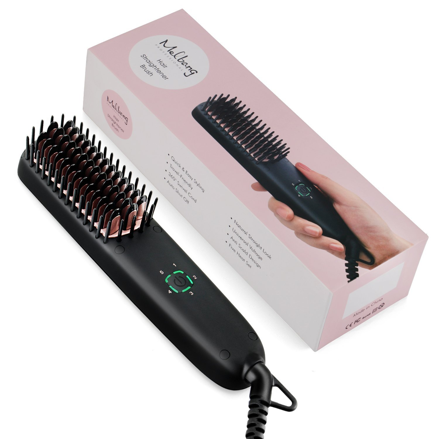 Melbang Mini Hair Straightener Brush Anti-scald Design PTC Heating Ceramic Technology Dual voltage of 110 to 240V Auto Shut Off Fast Straightening Wavy Curly Kinky Hair