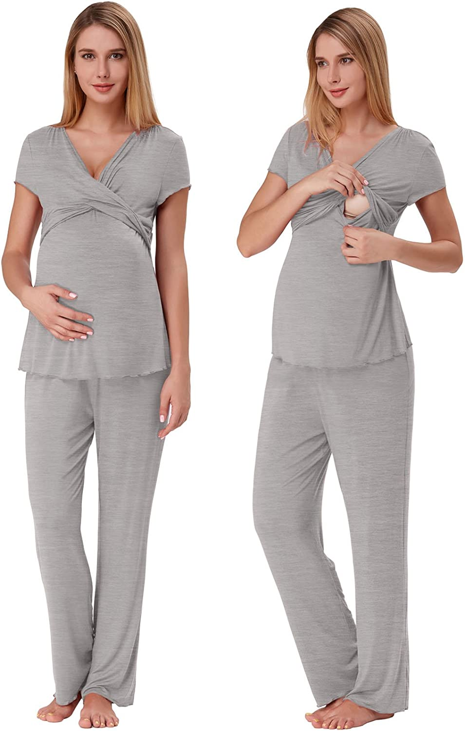 Zexxxy Women Ultra Soft Maternity & Nursing Pajama Set Pregnancy Sleepwear