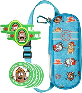 AllerMates Deluxe Kids Medical Health and Safety Bundle Including Carrying Case for EpiPen or Auvi-Q, Tree Nut Medic Alert Allergy Awareness Bracelet (2 Pack), and 2