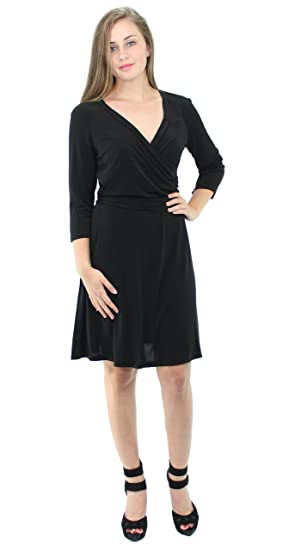 88f152b5cb69 AGB Women's 3/4 Sleeve Solid Jersey Faux Wrap Dress (M, Black) at ...