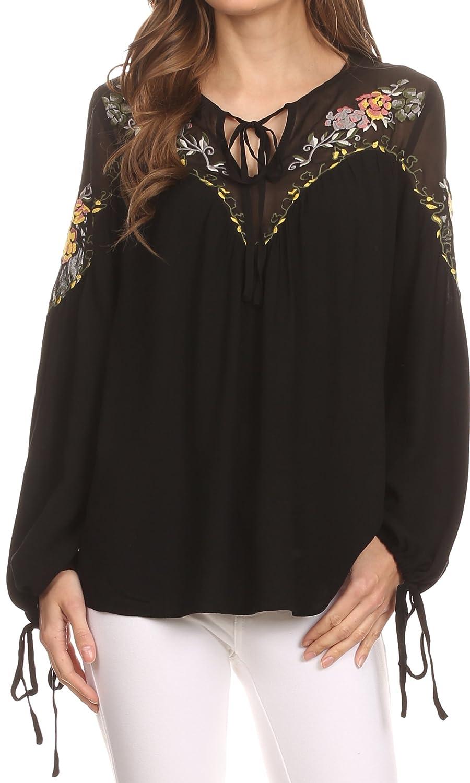 Sakkas Enya Langarm Einstellbare Glockenärmel Batik Bluse top-Hemd:  Amazon.de: Bekleidung