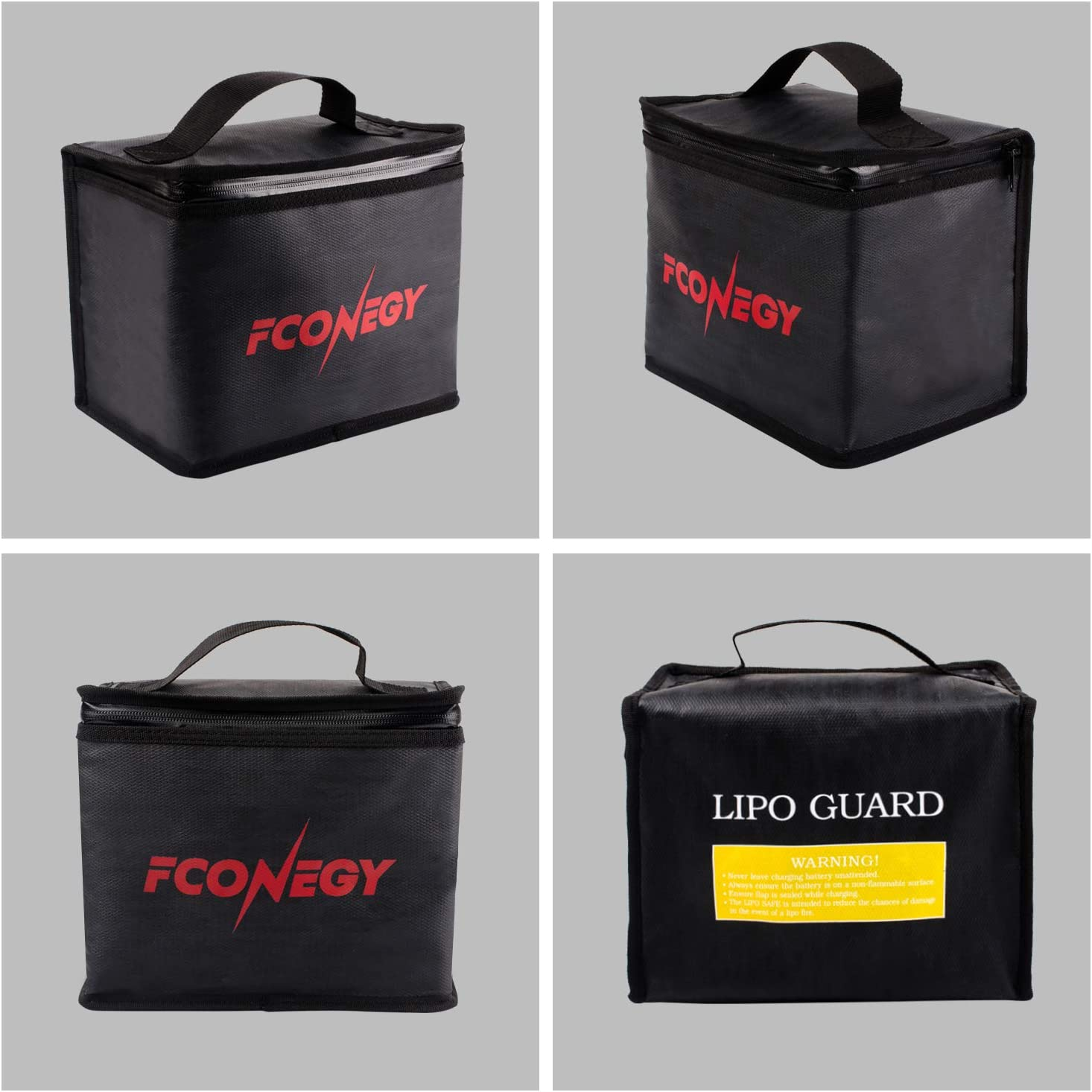 FCONEGY 2 Pack Lipo Battery Bags Two Sizes Fire and Water Resistant Safety Storage Pouch Safe Charging Transport Bag Fireproof Explosion Proof for Toy RC Drone Vehicle,Black