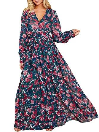 61d7357caaa1f Ofenbuy Womens Floral Print Sexy V Neck Maxi Dresses Long Sleeve High Waist  Belt Casual Long Dress